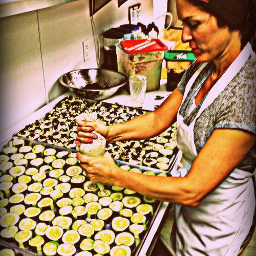 Making Veggie Appetizers for a big event at Casa de Luz