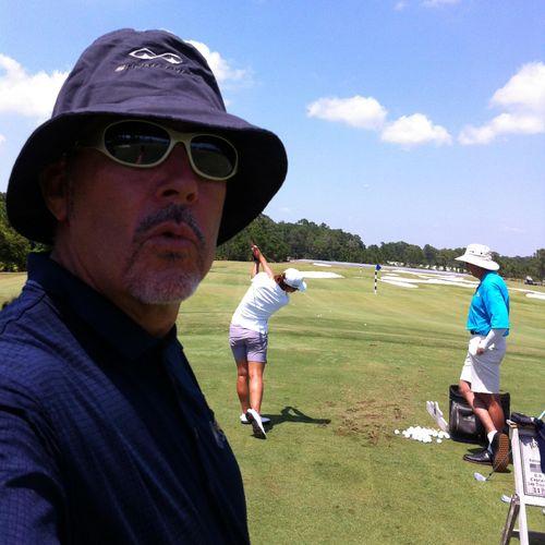 Lydia, David and Steve on the practice range