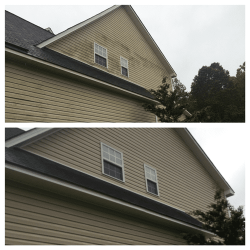 Before and after siding clean