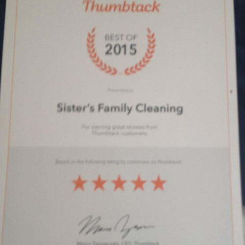 THE BEST HOUSE CLEANING OF 2015 Thank you thumbtack !