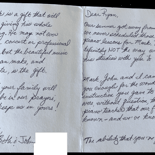 A touching note I got from Beth, Mark's mom. Mark was my first student in St. Louis and took lessons for over 4 years!