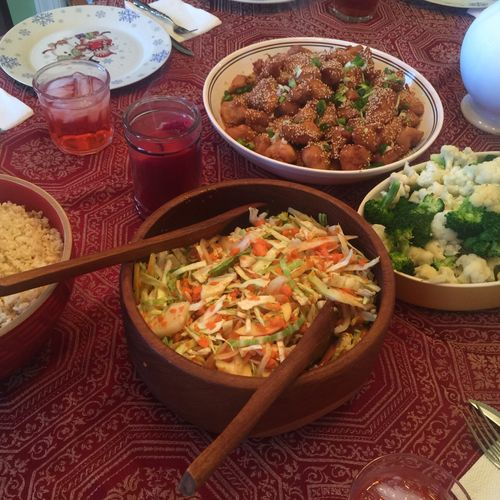 Buffet of Asian foods (table self Serve)