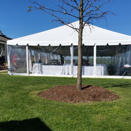 frame tent with clear sides