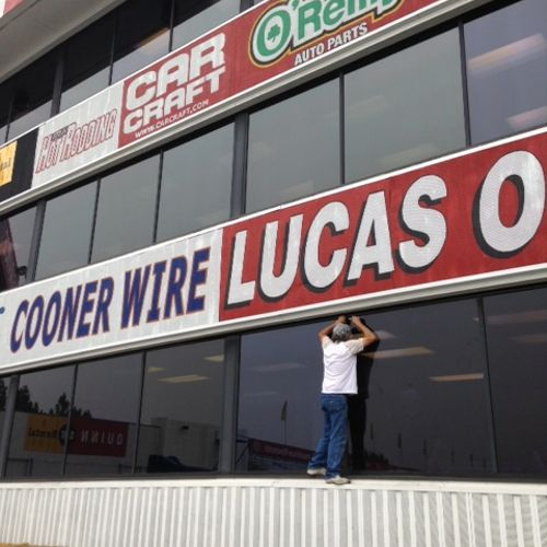 OUR YEARLY GLASS REPLACEMENT FOR THE NHRA DRAG STRIP IN POMONA, CA