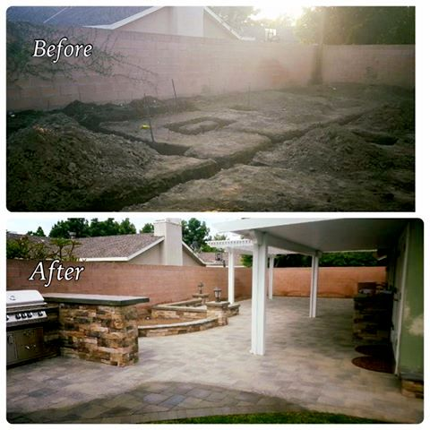 Before & After of Backyard BBQ, Outdoor Kitchen, & Patio Cover