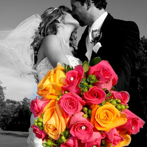 Bride and groom portrait w/spot color effects