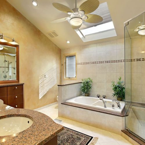 Stately Twin Master Bathroom