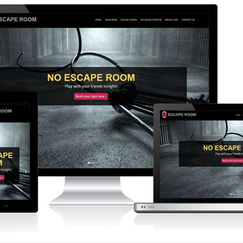 A fully custom designed website for No Escape Room in Buffalo Grove, IL that implements a chosen by a client onsite booking software.