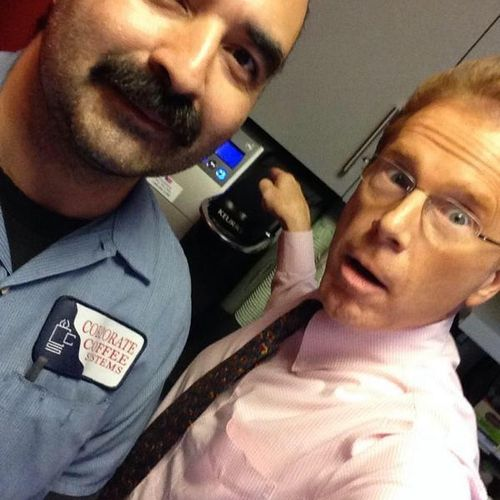 John Elliot, the weather man, from CBS channel 2 and me after fixing the coffee machine.
