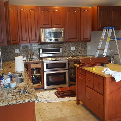 Alexandria, VA project. Kitchen cabinets before painting
