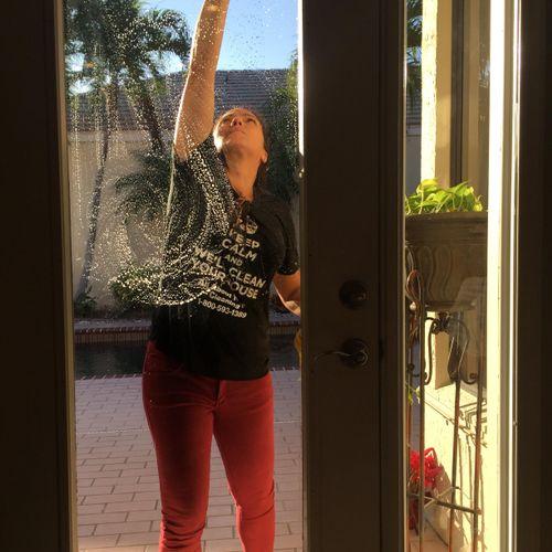 We wash the sliding glass doors