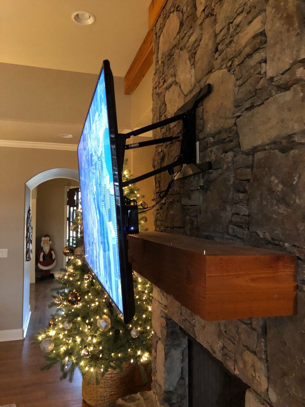 Pull down tv mount over fireplace