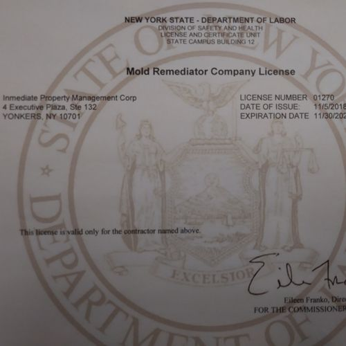 NYS DOL MMOLD REMEDIATION LICENSE