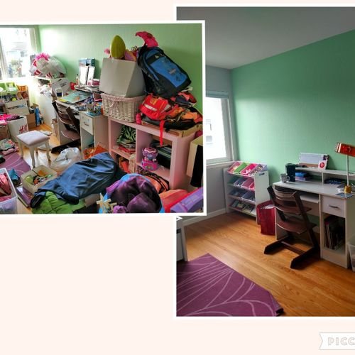girl's bedroom before/after