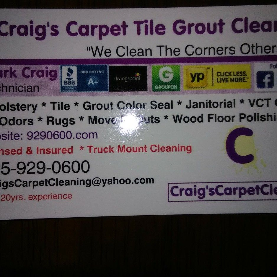 Craig's Carpet Tile Grout Cleaning