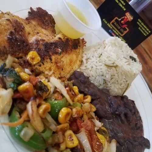 Blackened Tilapia with Sauteed Veggies, Cilantro Lime Rice and Black Beans