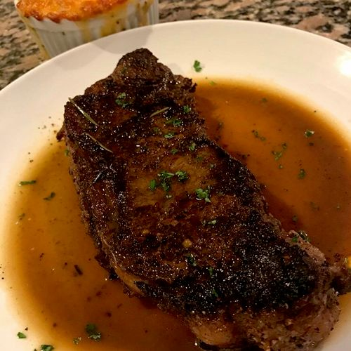 Broiled NY Strip, Beef Herb Jus