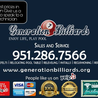 Avatar for Generation Billiards pool table movers Perris, CA Thumbtack