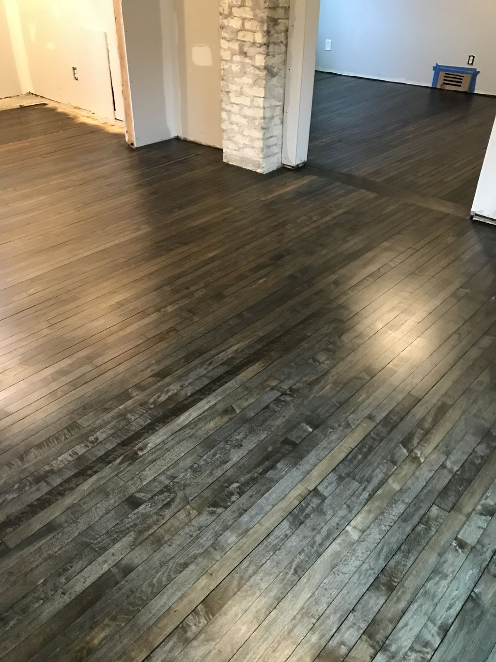 Stained Bona graphite with three coats of Bona traffic
