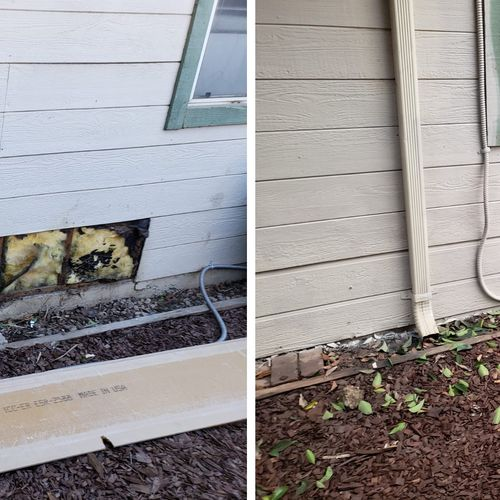Termite dry rot repair to residential home.