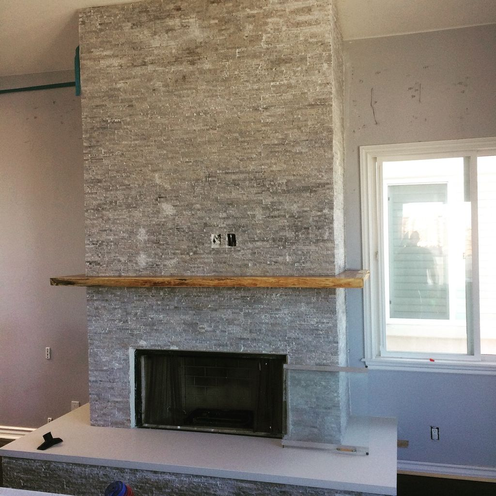 Stack stone fireplace