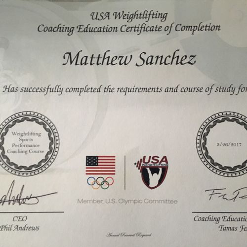 USAW Sports Performance Certification.