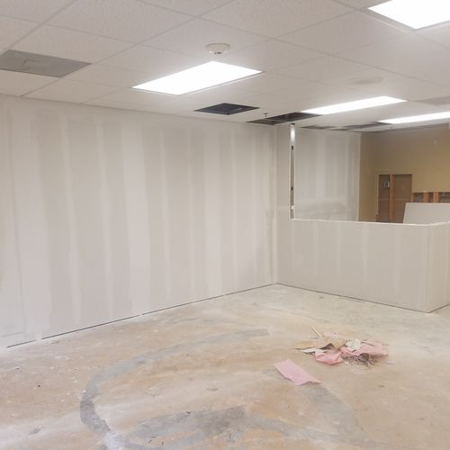 Drywall hanging and finishing for commercial property.