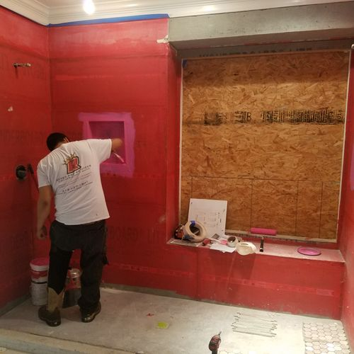 Installed backer board and waterproof for shower walls.