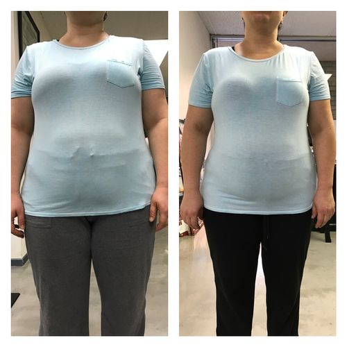 Before and After pictures of a client after 2 months of training :)