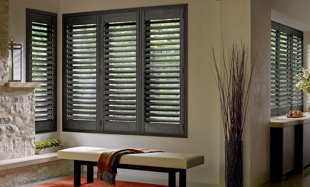 plantation shutters and drapery