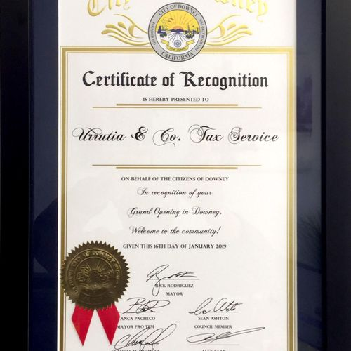 City of Downey Recognition