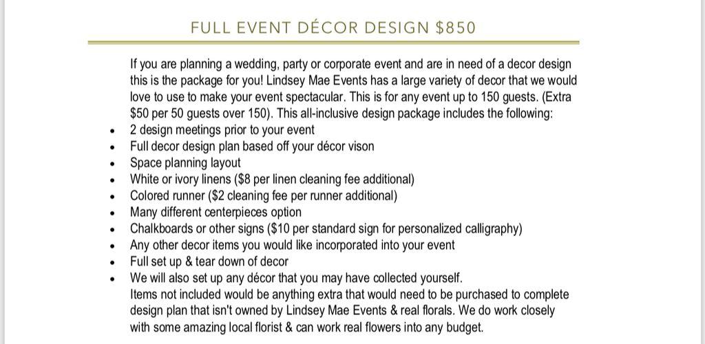 Full service Wedding Decor Design