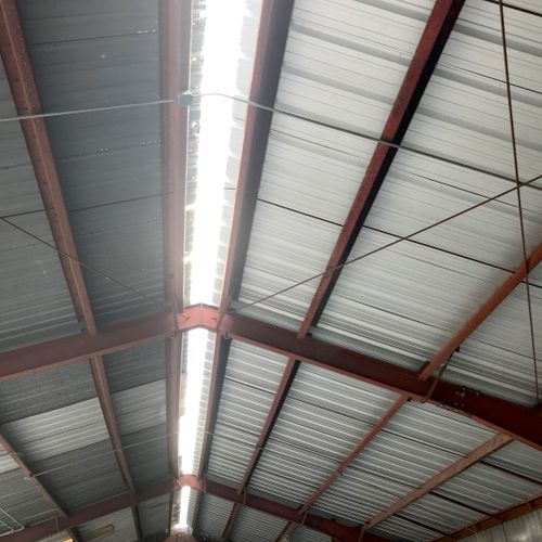 Underside of the gas station metal roof before we attached the Ridge Vent System.