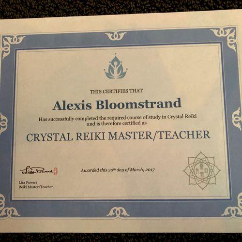 Reiki Crystal Master Teacher certification