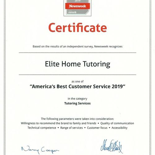 "We were recognized by Newsweek as one of ""America's Best Customer Service 2019"" in the category of tutoring services"