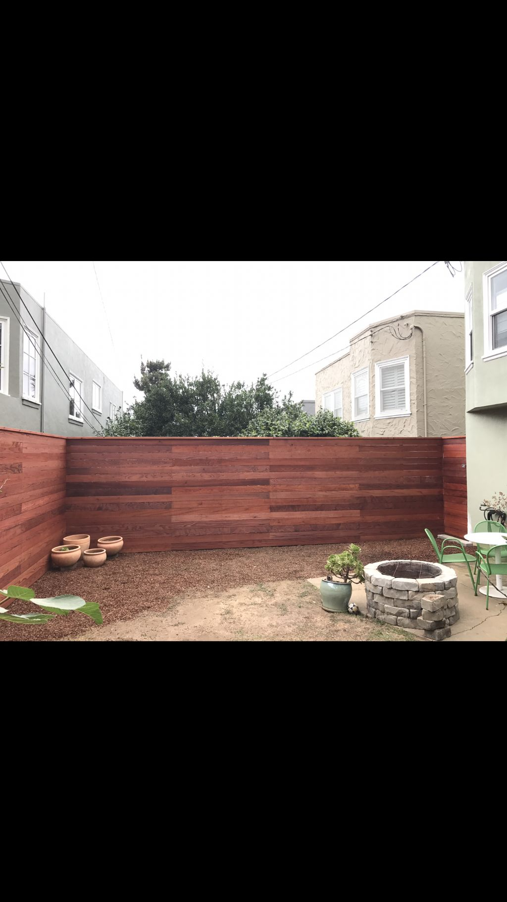 Forest hill horizontal redwood fence 92ft