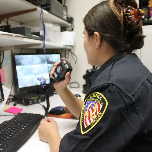 A dispatcher responds to a call by dispatching guards to a location
