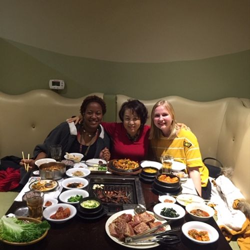 Dinner at Korean restaurant with my students.