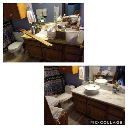 New flooring, countertop, sink, faucet, toilet.