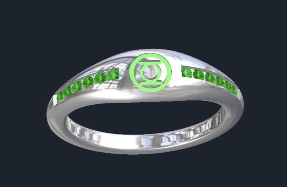 Custom Made Green Lantern Inspired Engagement Ring