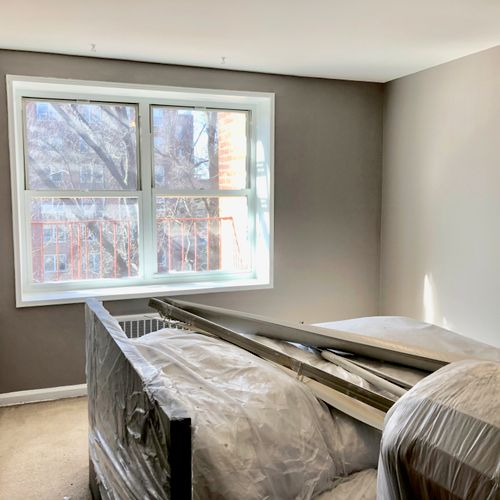 Ceilings, walls and trim painted in the master bedroom