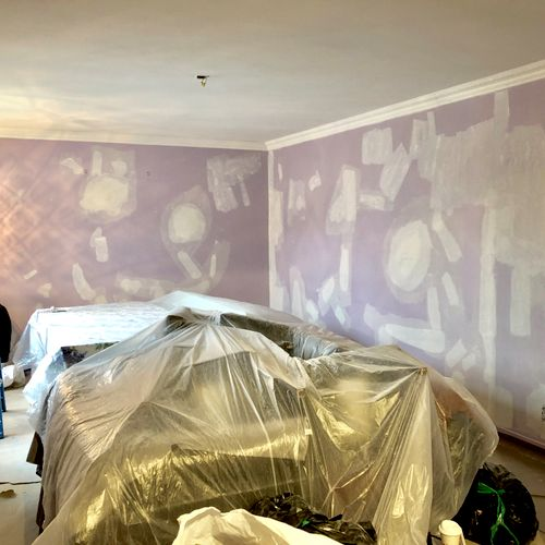 Walls being prepped in the living room