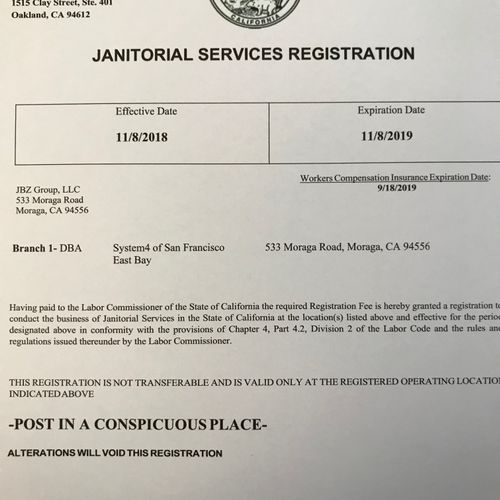 CA State Registered  / Fully Insured and Bonded
