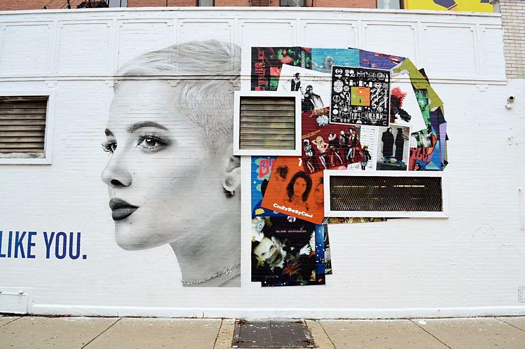 Pandora Music Ad mural featuring Halsey