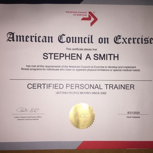 I've been a certified Personal Trainer since 2002. ACE- certification is recognized as a legitimate certification by the U.S. government