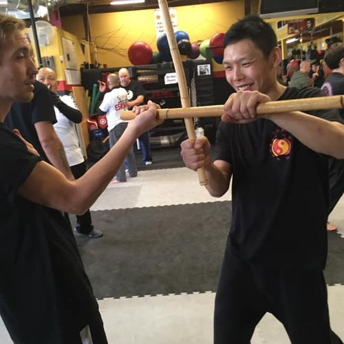Disarm practice with a fellow student