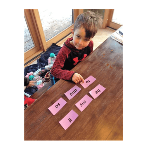 🎯This kindergarten student plays a sight word game with me. Sight words make up about 75% of the beginning reading books!