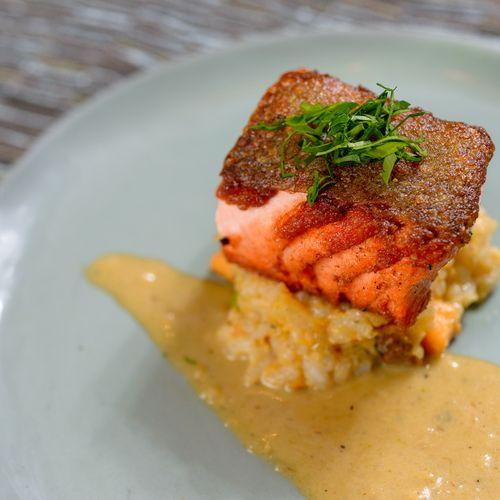Pan Seared Salmon with Creamy Leek Sauce--Image by BMK Photography