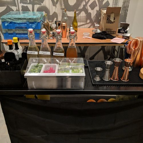 Margarita bar all set up for the night.  Jalapeño (a must have at your next party) ginger and good old honey.
