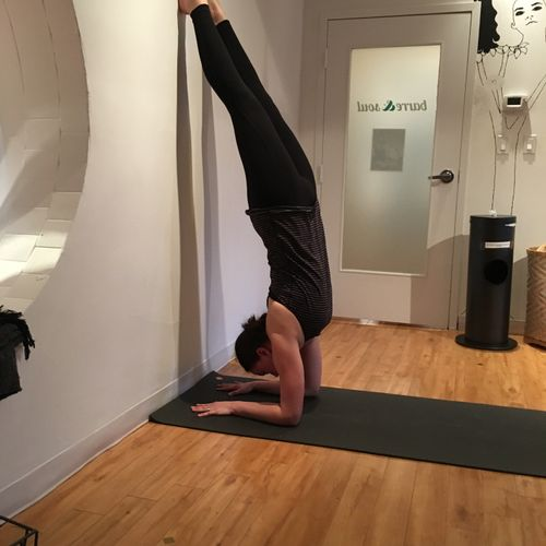 One of my clients hopping up to forearm stand!